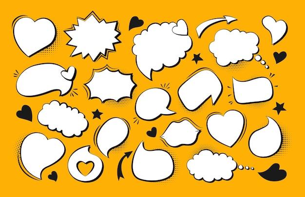 Set di fumetti pop art con bolle di discorso