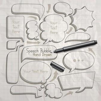 Discorso bolla scarabocchi disegnati a mano.