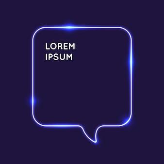 Bolla di discorso al neon su uno sfondo scuro