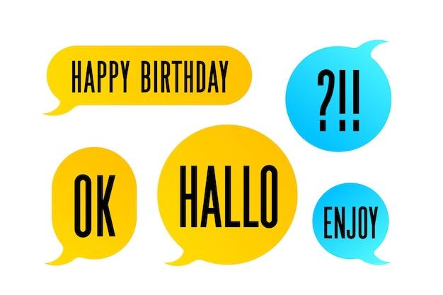 Fumetto. set di nuvoletta colorata discorso bolla. colore isolato discorso bolla silhouette con testo ok, hallo, enjoy. elementi di design per messaggi, chat. illustrazione vettoriale
