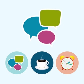 Fumetto. set con 3 icone rotonde colorate, fumetto, tazza di tè, tazza di caffè, sveglia colorata, illustrazione vettoriale