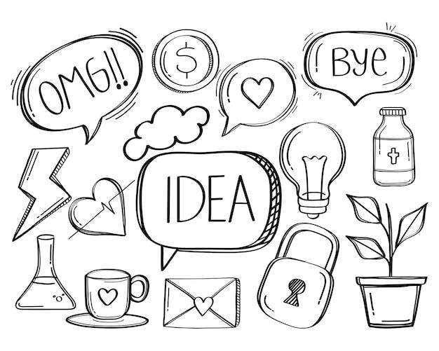 Icona di stile di doodle di social media di discorso bolla