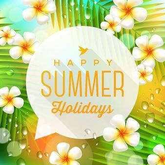 Fumetto con vacanze estive saluto contro fiori tropicali e rami di palme