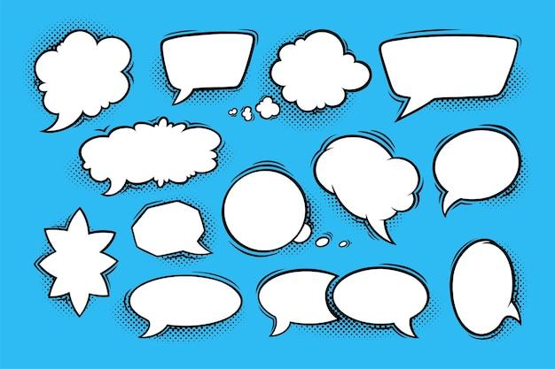 Bolle di discorso con ombre di mezzitoni in stile fumetto. set di scatole vocali