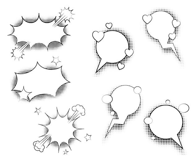Bolle di discorso con ombre di mezzitoni. illustrazione vettoriale isolato su sfondo bianco.