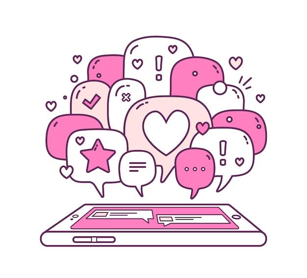 Fumetti con icone e telefono