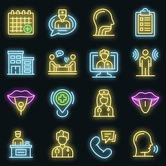 Set di icone di logopedista. contorno set di icone vettoriali logopedista colore neon su nero