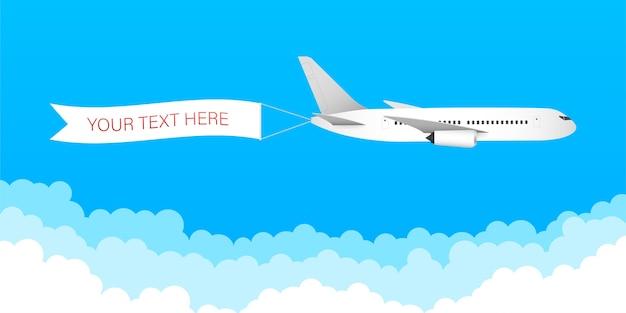 Velocità del getto di aerei dell'aeroplano con nastro banner pubblicitario nel cielo nuvoloso