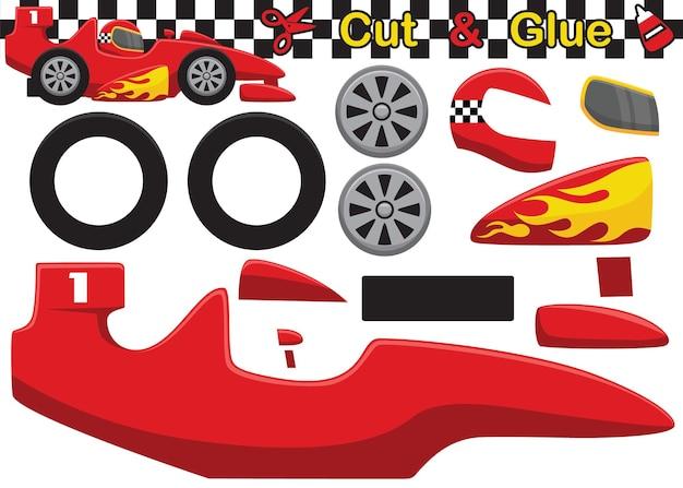 Fumetto dell'automobile di velocità. gioco di carta educativo per bambini. ritaglio e incollaggio