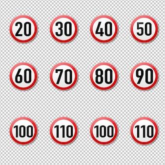 Segno di limite di velocità grande raccolta illustrazione isolata