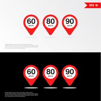 Insieme dell'icona del segno di limite di velocità