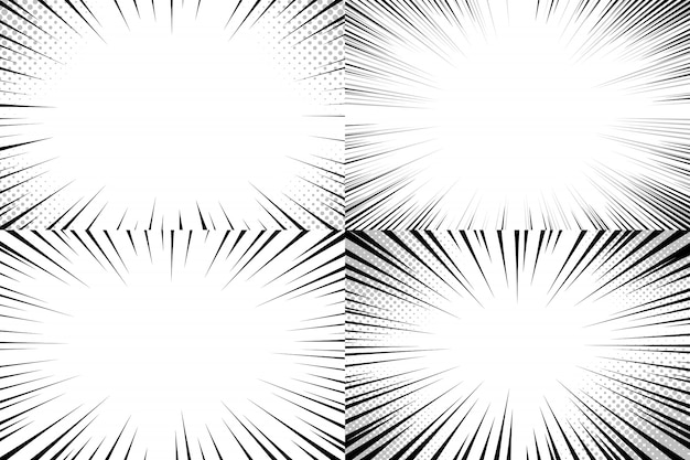 Sfondo di linee di velocità. set di strisce di azione comica, modello di strisce di linee veloci e manga veloce esplosione o set di sfondi di fumetti