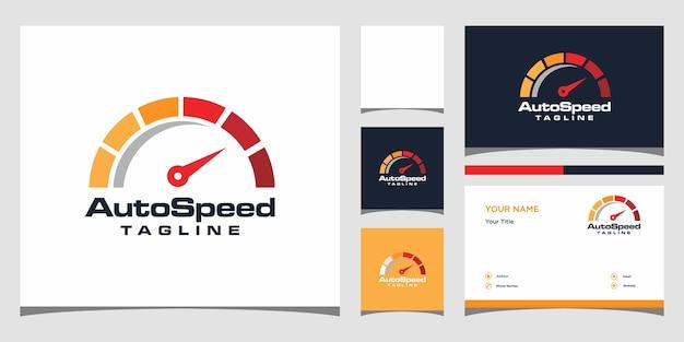 Design del logo di velocità. design del logo e biglietto da visita premium
