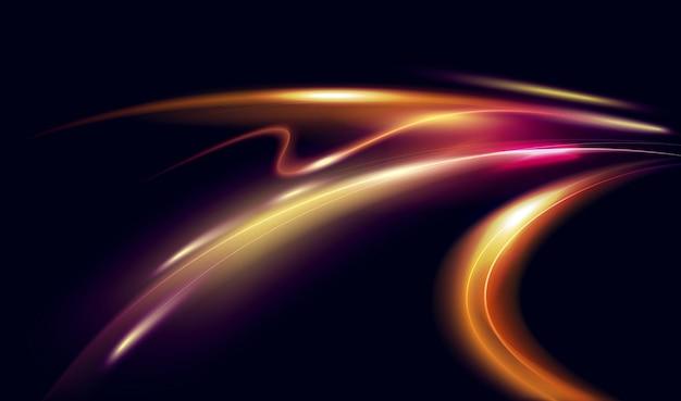 Effetto di luce astratta del movimento di velocità di notte sfocate e luminose tracce di auto a lunga esposizione Vettore Premium