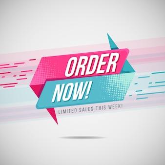 Velocità rosa e blu ordina ora modello di banner