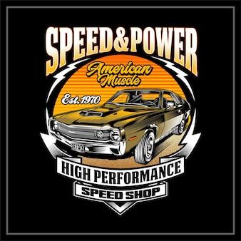 Illustrazione di auto muscolare americana di speed power