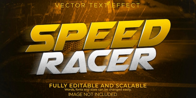 Effetto testo gara di velocità, stile di testo modificabile veloce e sportivo.