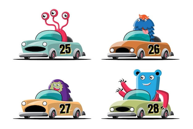 Nella competizione di giochi di corse di velocità, il giocatore di mostri ha usato un'auto ad alta velocità per vincere nel gioco di corse