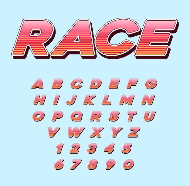 Carattere corsivo di speed racing sport con lettere e numeri