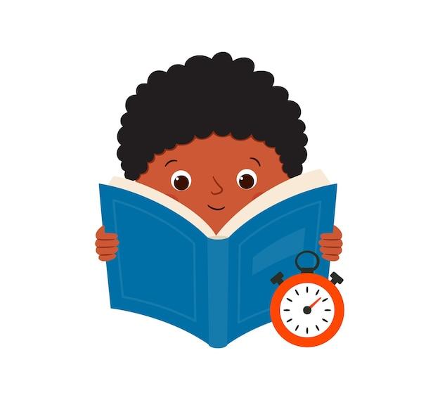Lettura veloce. un ragazzo di colore legge un libro e misura la velocità di lettura. illustrazione vettoriale isolato su sfondo bianco