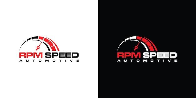 Design del logo di velocità rpm per modello di azienda automobilistica