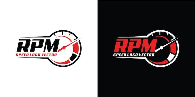 Design del logo velocità rpm per il settore automobilistico