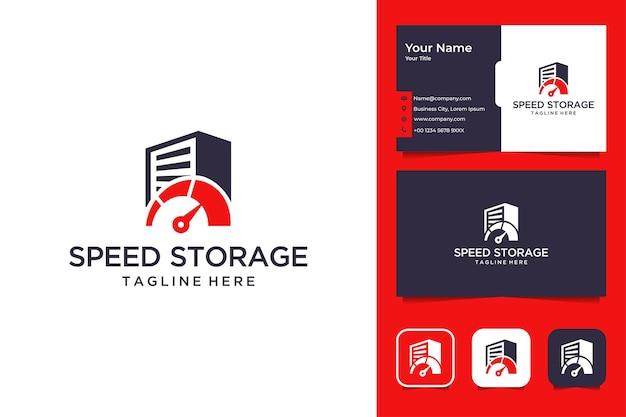 Velocità di archiviazione del design moderno del logo e biglietto da visita