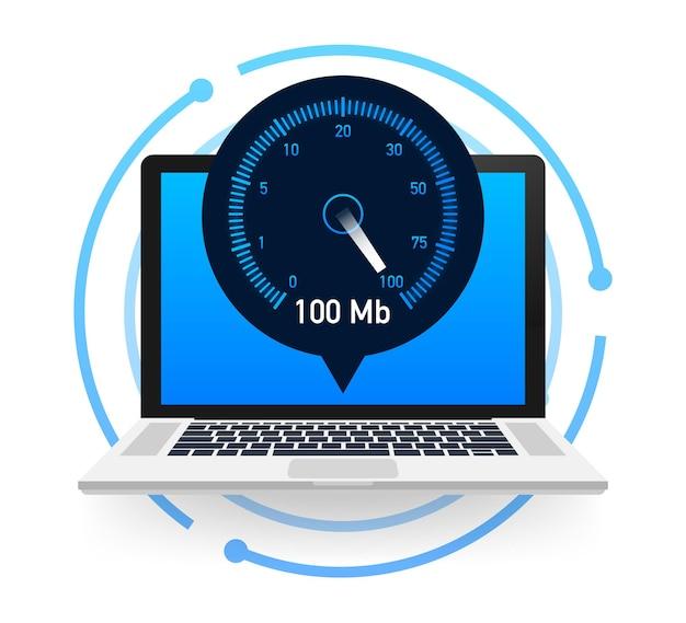 Test di velocità su laptop. tachimetro velocità internet 100 mb. tempo di caricamento della velocità del sito web. illustrazione vettoriale.