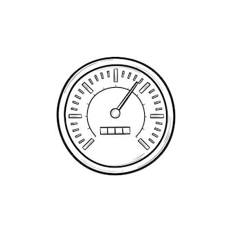 Icona di doodle di contorni disegnati a mano del tachimetro. indicatore del limite di velocità, indicatore di controllo della velocità e concetto di misurazione