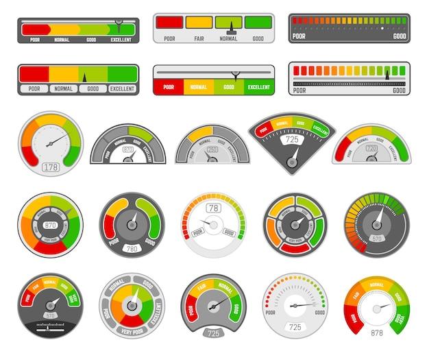Livello indicatore del tachimetro. indicazione della valutazione della qualità, indicatori del tachimetro di qualità delle merci, set di icone degli indicatori del punteggio di soddisfazione. la barra dell'illustrazione indica, minimo medio e max