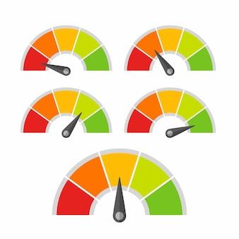 Livello dell'indicatore del tachimetro per la valutazione del design vettoriale del livello di qualità diverso