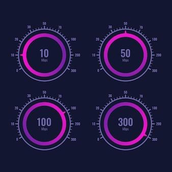 Disegno vettoriale dell'indicatore del livello di velocità di internet del tachimetro