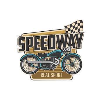 Icona isolata sport speedway con moto e bandiera da corsa finale