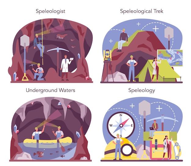 Illustrazione stabilita di concetto di speleologo