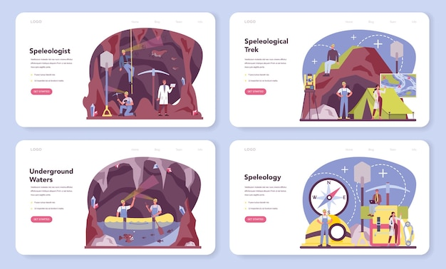 Banner web speleologo o set di pagine di destinazione