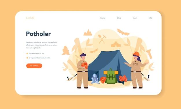 Banner web o pagina di destinazione dello speleologo