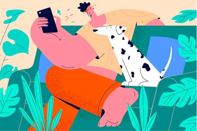 Trascorrere del tempo a casa con il concetto di animale domestico.