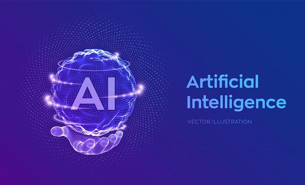 Onda a griglia della sfera con codice binario. logo ai intelligenza artificiale in mano. concetto di apprendimento automatico.