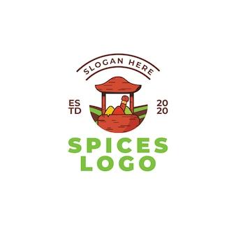 Concetto di design del logo delle spezie. illustrazione vettoriale di cibo. ciotola in legno con spezie verdi, rosse e gialle.