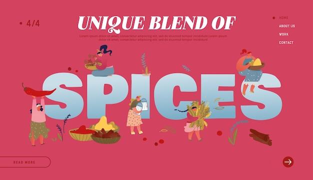 Pagina di destinazione del sito web di spezie e condimenti.