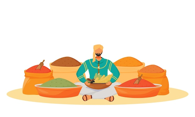 Concetto piatto del negozio di spezie. uomo seduto nella posizione del loto, condimenti venditore ambulante personaggio dei cartoni animati 2d per il web design. idea creativa di scambio di aromi tradizionali indiani