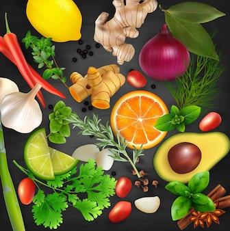 Spezie, condimenti ed erbe sullo sfondo tavolo nero