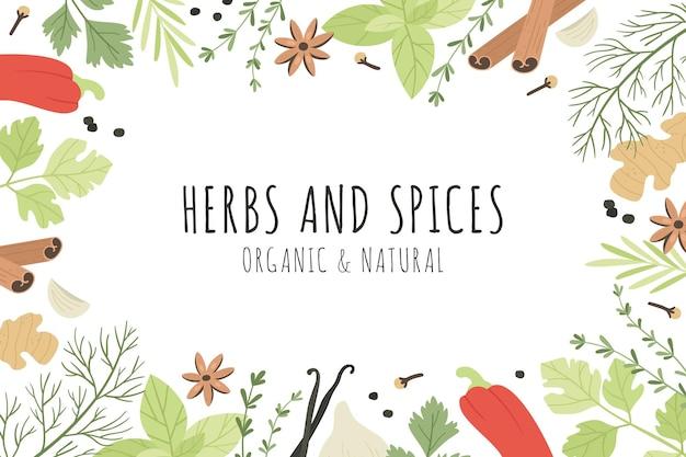 Banner di spezie ed erbe aromatiche Vettore Premium