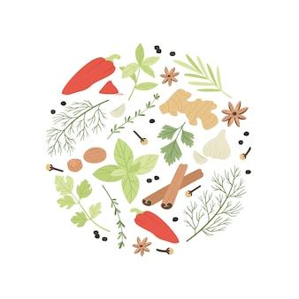 Illustrazione di spezie ed erbe aromatiche