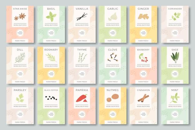 Set di etichette di spezie