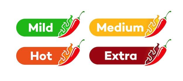 Peperoncino piccante livello etichetta vettore mite medio caldo extra isolato su sfondo salsa di pepe con fuoco