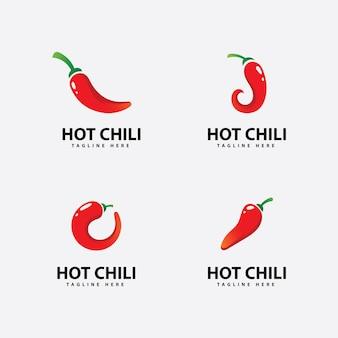 Icona del logo del peperoncino piccante vettore modello del logo del peperoncino rosso