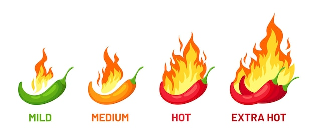Scala di peperoncino piccante. pepe con fuoco per livelli di forza delle spezie lieve, medio ed extra caldo per salsa o etichette alimentari, logo e menu, set vettoriale. verdura che brucia nel fuoco, fiamma arancione