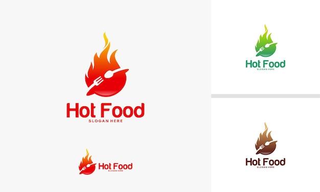 Vettore del modello di logo di cibo piccante, modello di progettazione del logo di hot food fire