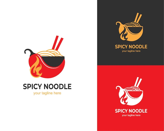 Design del logo con noodle ramen piccante